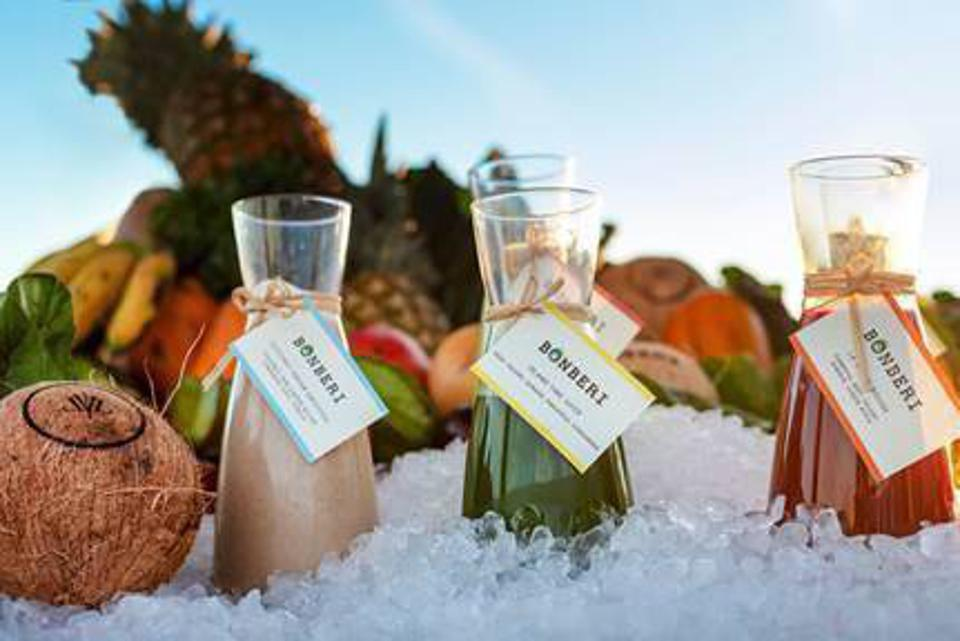 a selection of fresh squeezed juices from he Bonberi collab