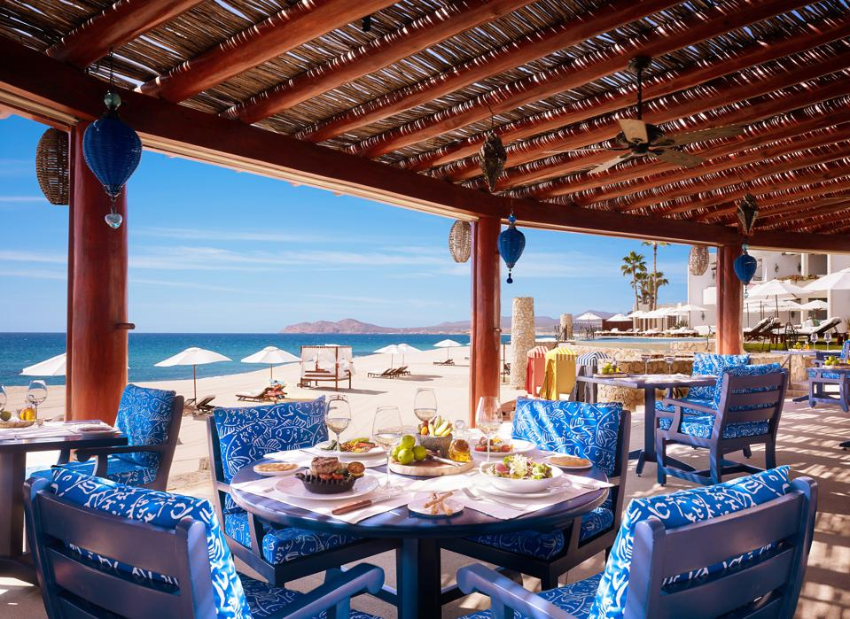 a beach view with food from Bonberi in Los Cabos, Mexico