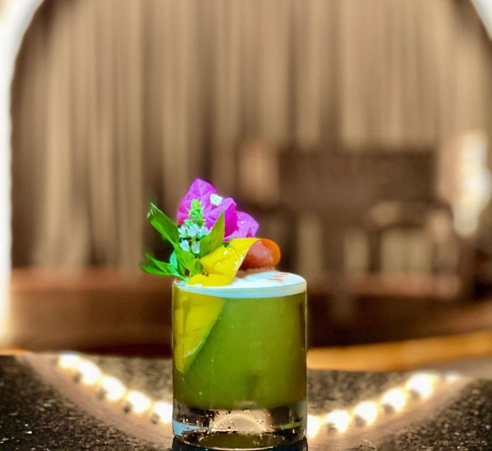 a verdant mezcal cocktail from the los cabos and Rosewood resort collaboration