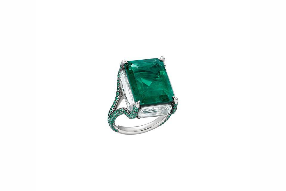Boghossian ring in 18K white gold with approximately 2 carats emerald and four beryls, price on request, boghossianjewels.com