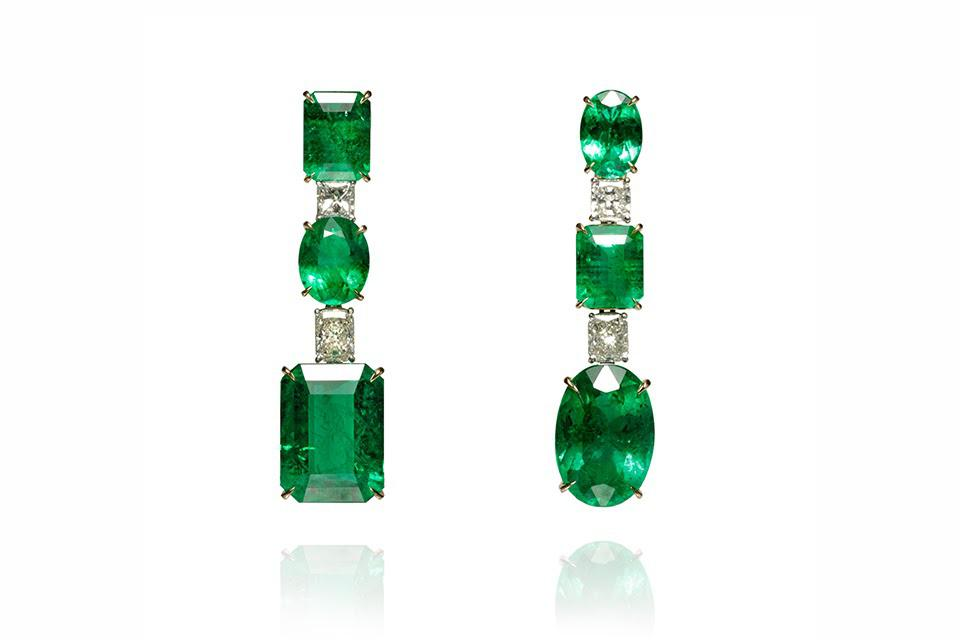 Ara Vartanian earrings in 18K yellow gold with emerald and diamond, price on request, aravartanian.com