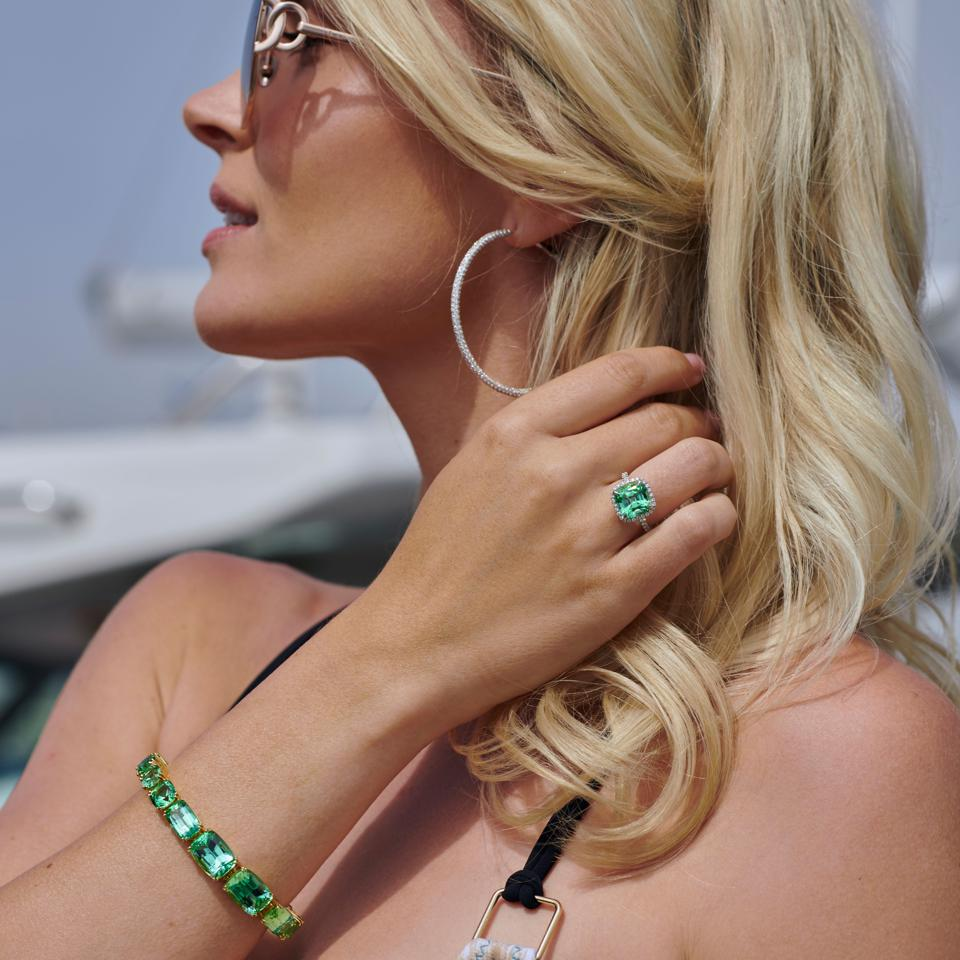Stephen Silver Fine Jewelry mint tourmaline halo ring and mint tourmaline bracelet