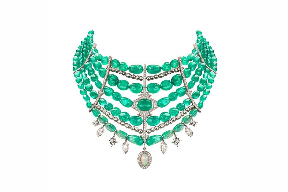 Venyx Muzo necklace in 18K white gold with 413.14 carats emerald, 4.55 carats diamond, and 1.17 carats opal, price on request, venyxworld.com