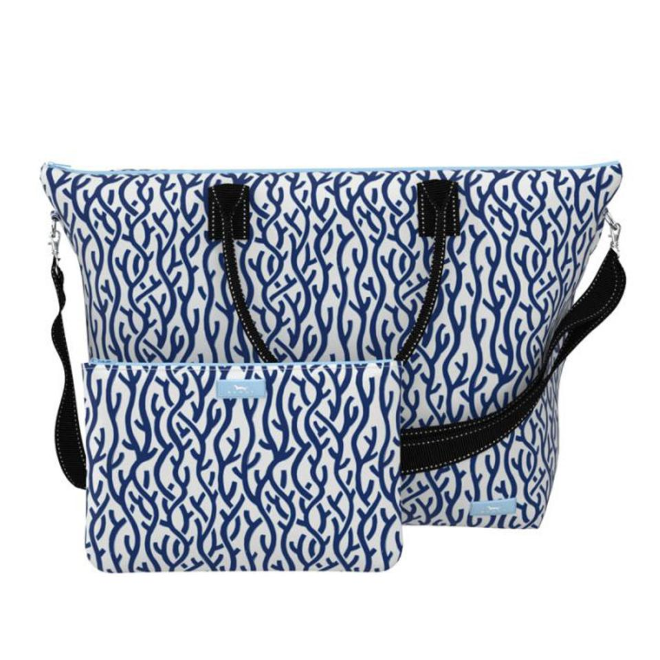 blue and white bags