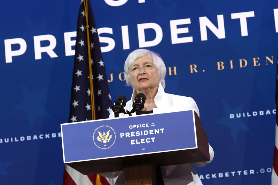 Secretary of the Treasury Janet Yellen speaks during an event