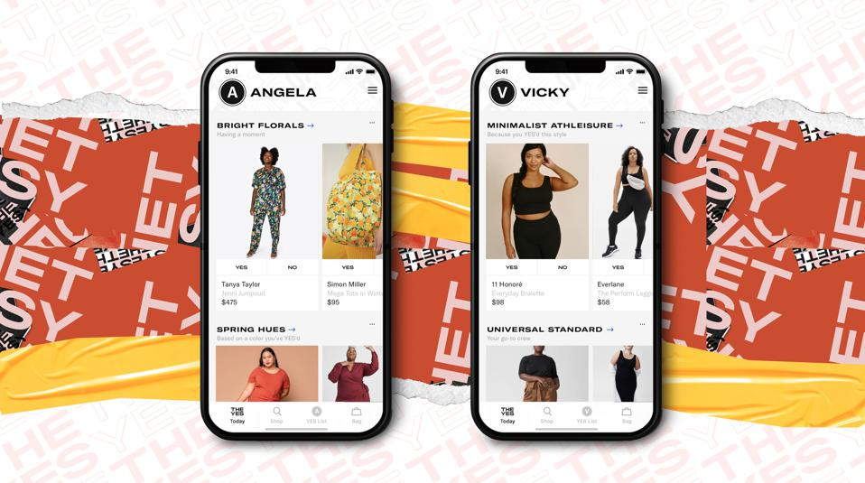 Two phones side by side showing images of women modeling clothes for a shopping app