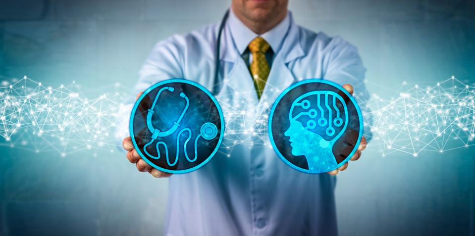 A doctor holds two diagnostic tools in his hands