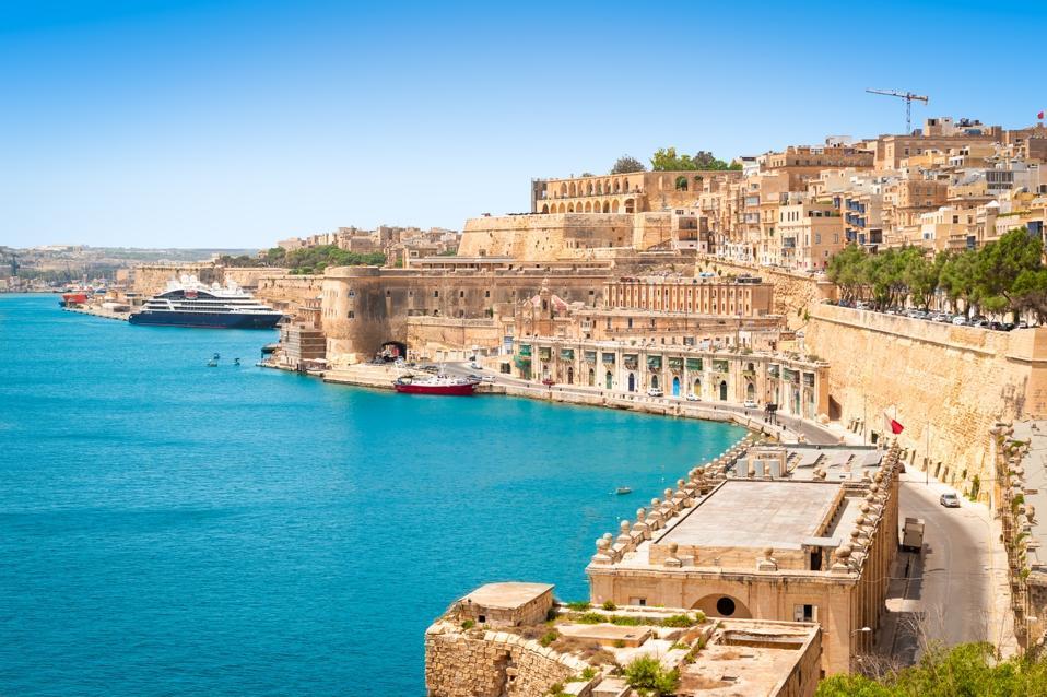 The medieval walls around Malta's capital city, Valletta.