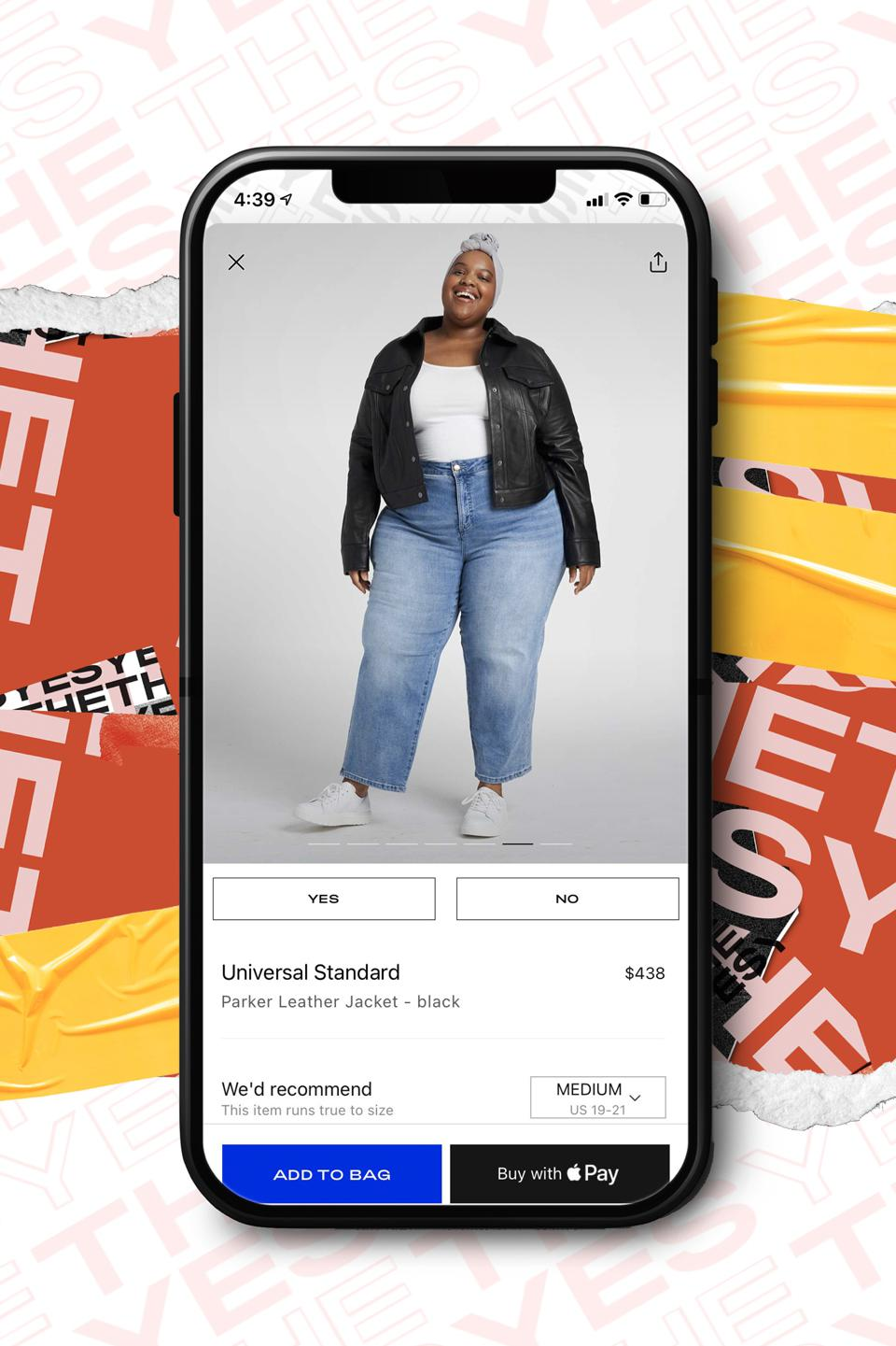 Phone with woman wearing jeans and jean jacket on a shopping app