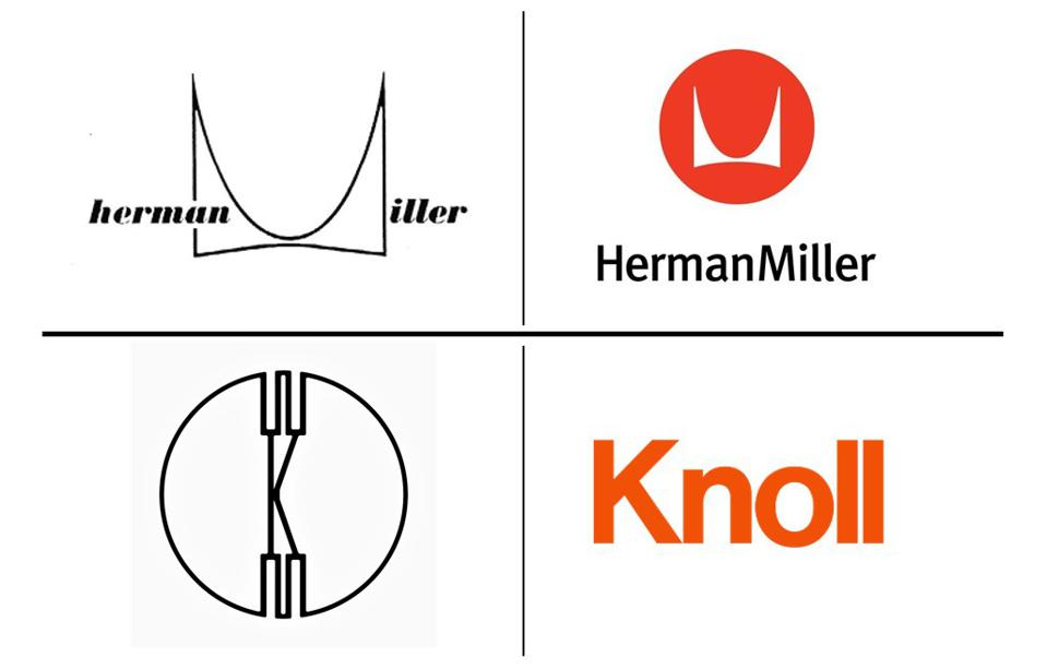 Herman Miller and Knoll logos through the ages
