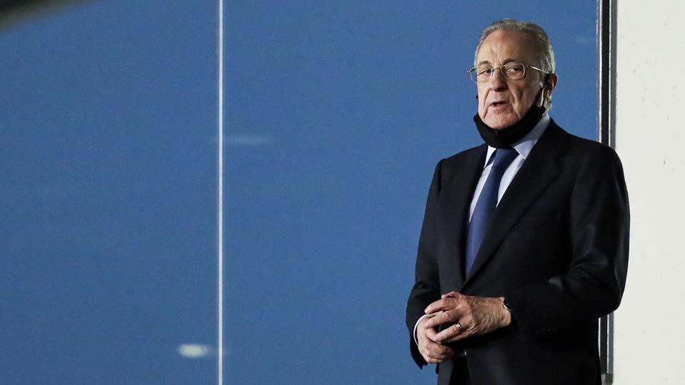 Florentino Pérez, Real Madrid's president, looks on during a Real Madrid game.