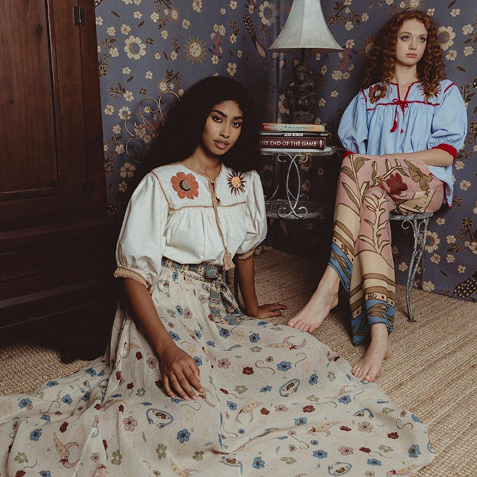 2 models wearing outfits from the Carolina K Spring/Summer 2021 Collection