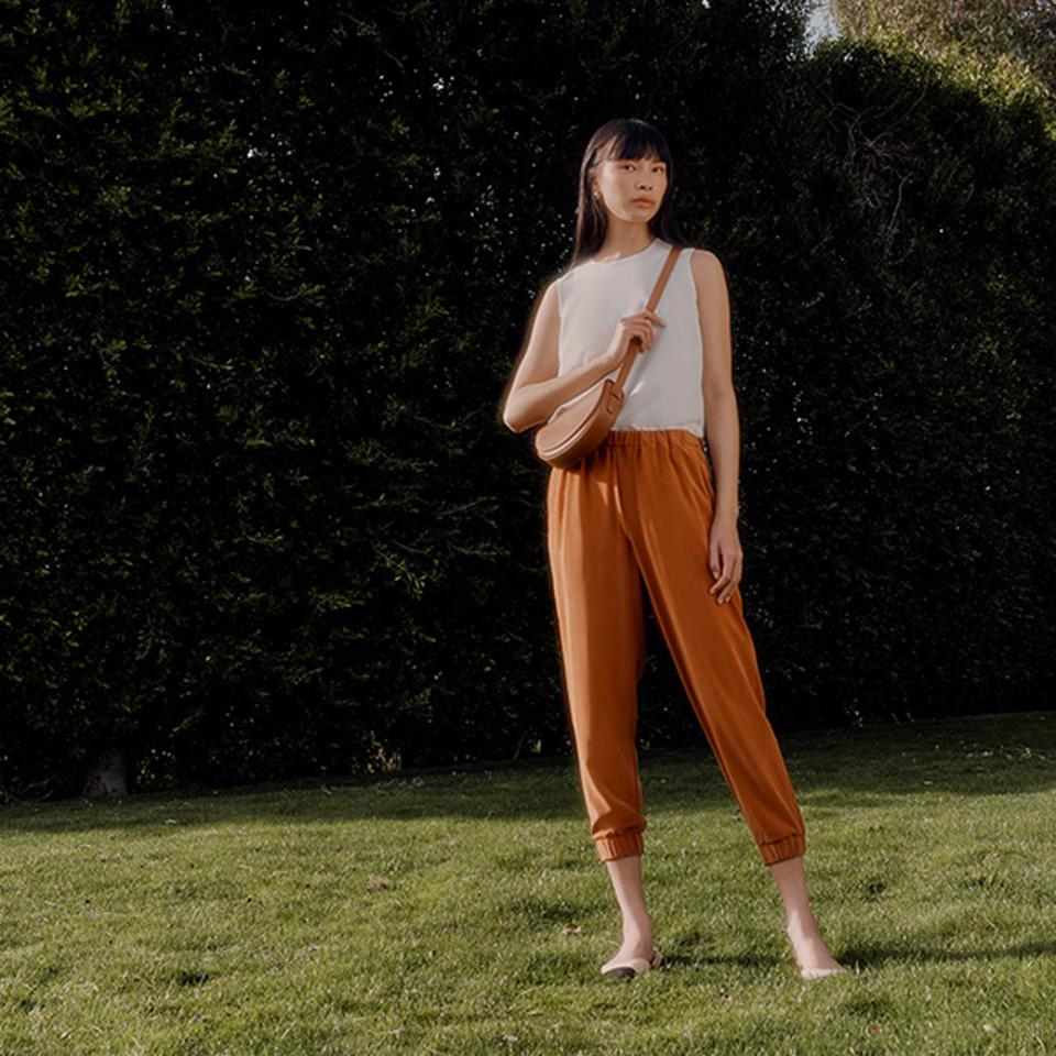 White top and brown pants from Cuyana Washable Silk Collection