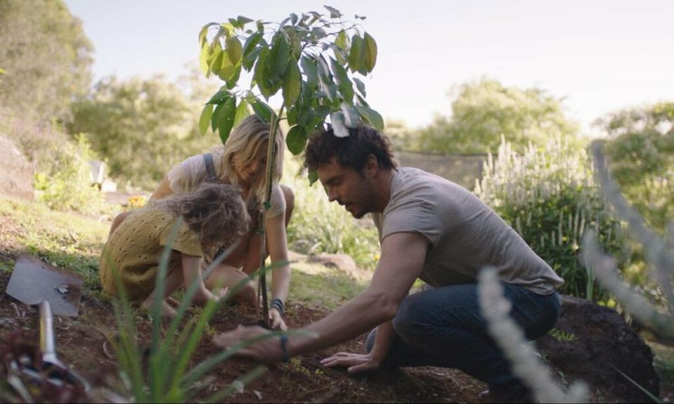 A man, woman and child plant a tree in the ground.