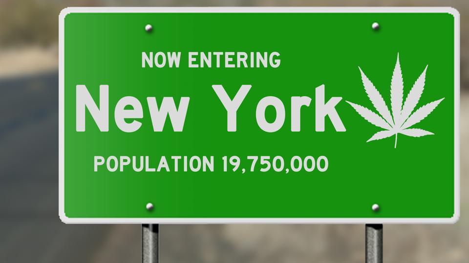 New York highway sign with marijuana leaf