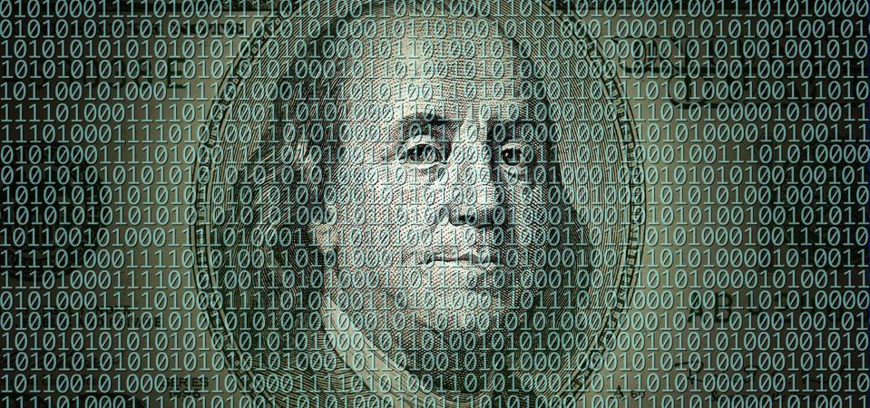 American one hundred dollar bill and binary code of one and zero