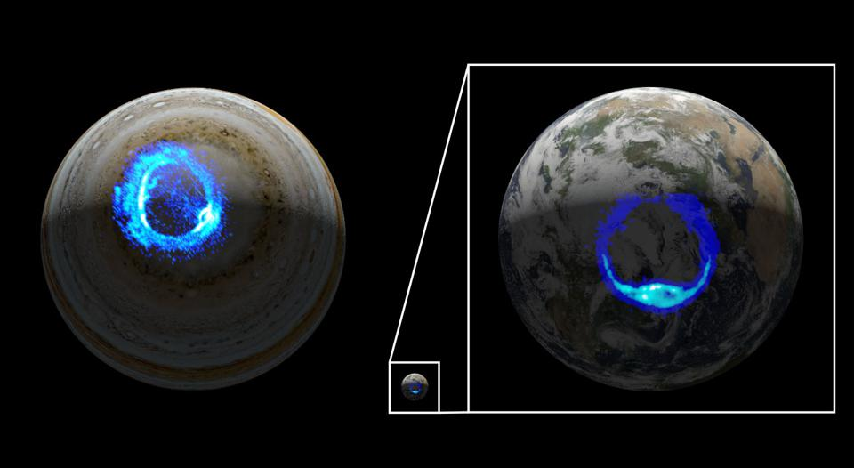This illustration depicts ultraviolet polar aurorae on Jupiter and Earth. While the diameter of the Jovian world is 10 times larger than that of Earth, both planets have markedly similar aurora.