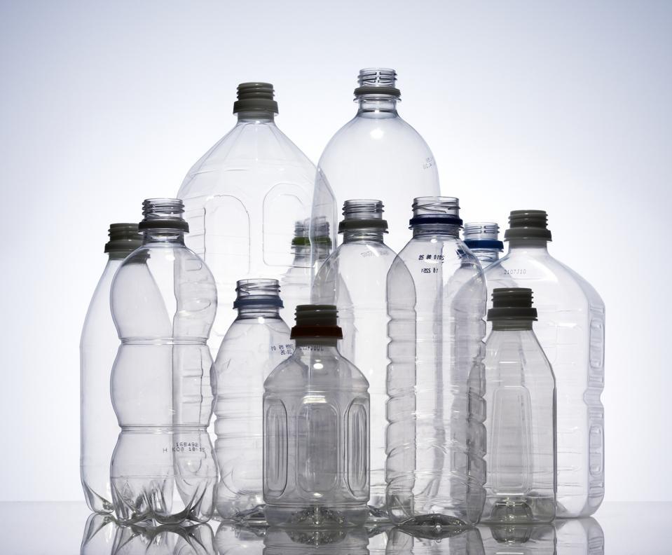 Group of empty plastic bottles, studio shot