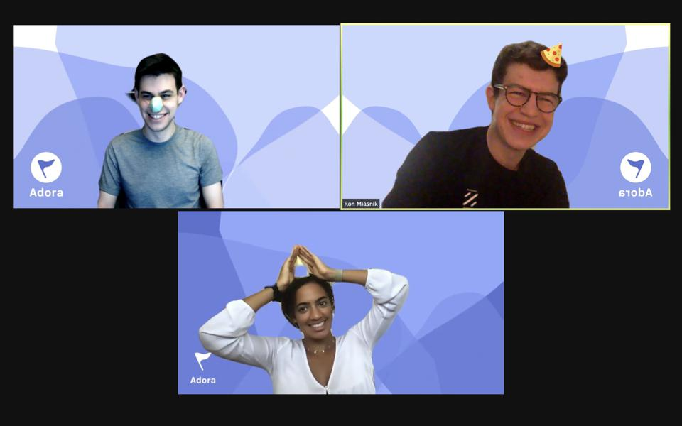 Three students in a Zoom chat.