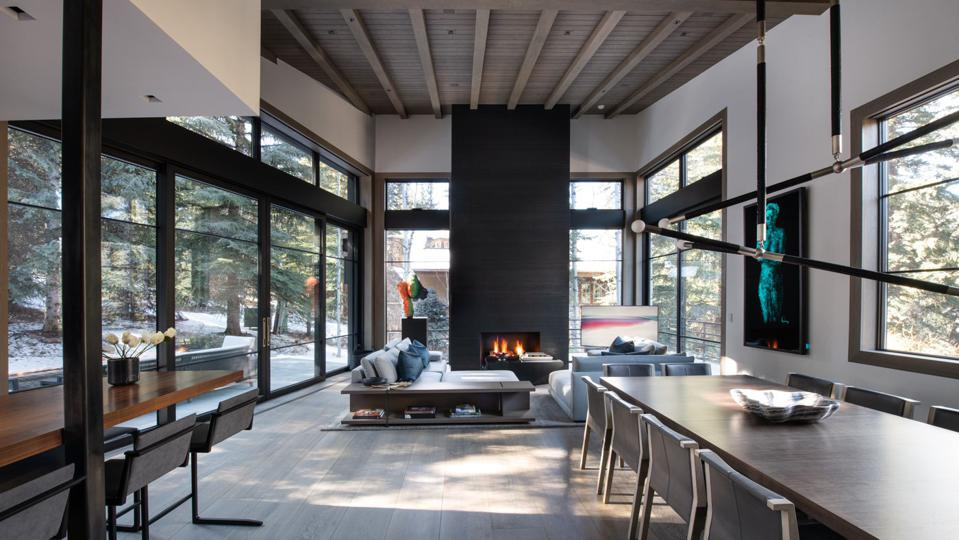 living room inside suman architects contemporary home 354 Beaver Dam Road Vail, Colorado