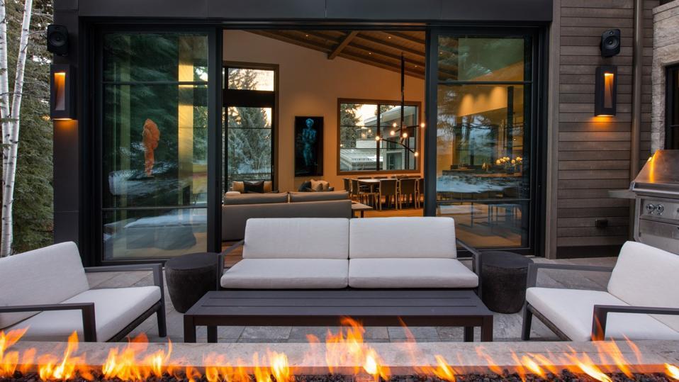 outdoor patio fire pit contemporary house 354 Beaver Dam Road Vail, Colorado