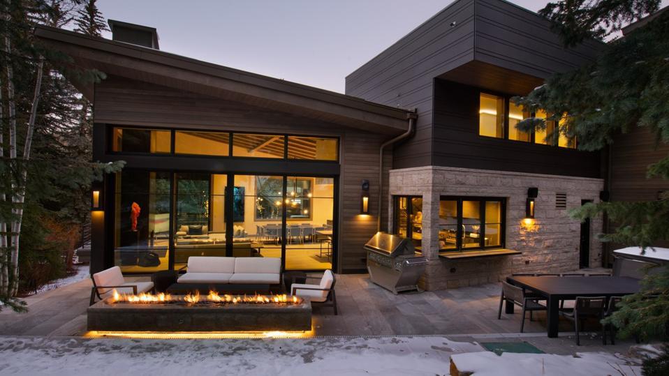 patio and hot tub luxury ski home suman 354 Beaver Dam Road Vail, Colorado