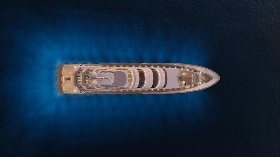 Vripack Yacht Design and Royal Huisman's 171 sport fishing super yacht from the air