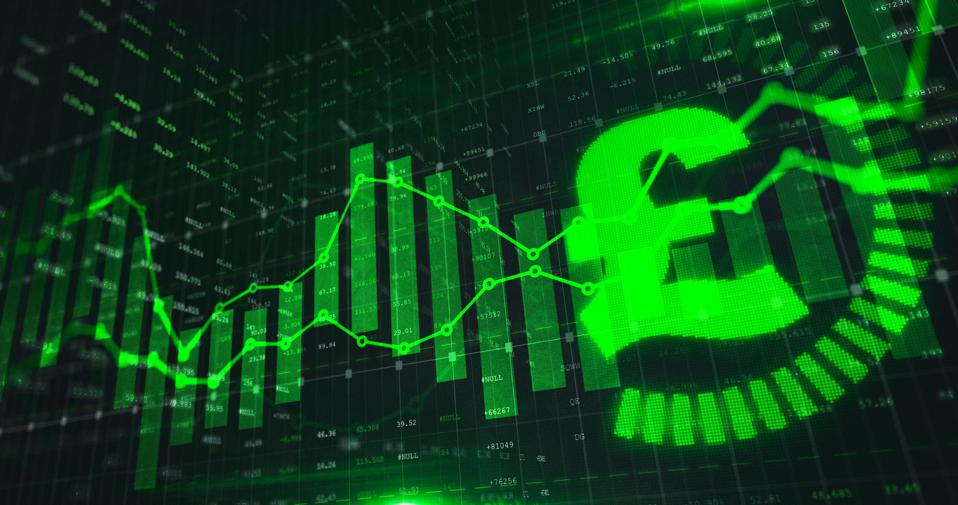 Stock market Pound trading graph in green color as economy 3D illustration background.