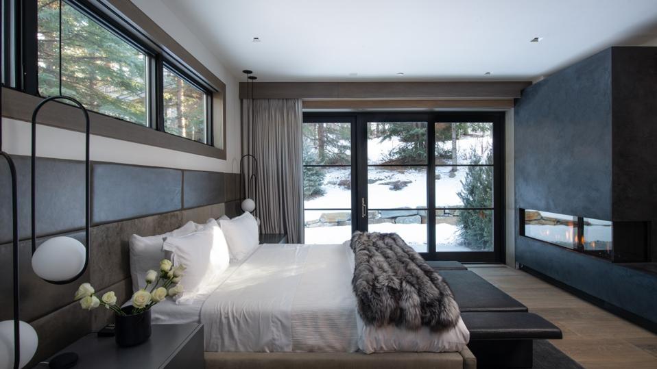 bedroom inside contemporary house 354 Beaver Dam Road Vail, Colorado