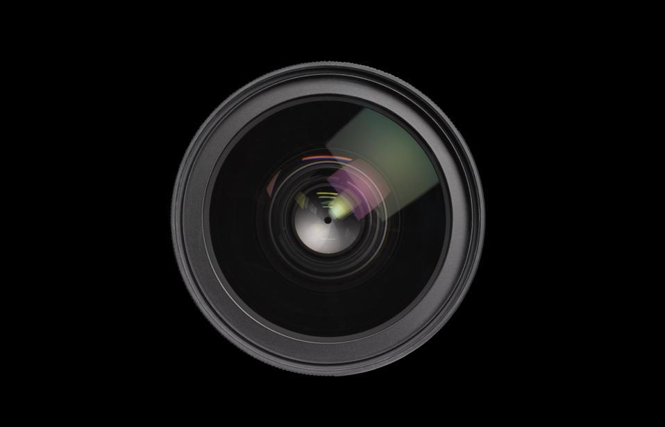 Close up of lens on black background