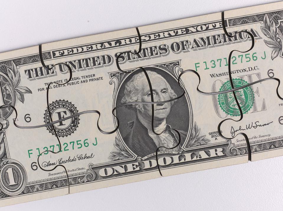 US 1 Dollar Bill featuring President George Washington, jigsaw