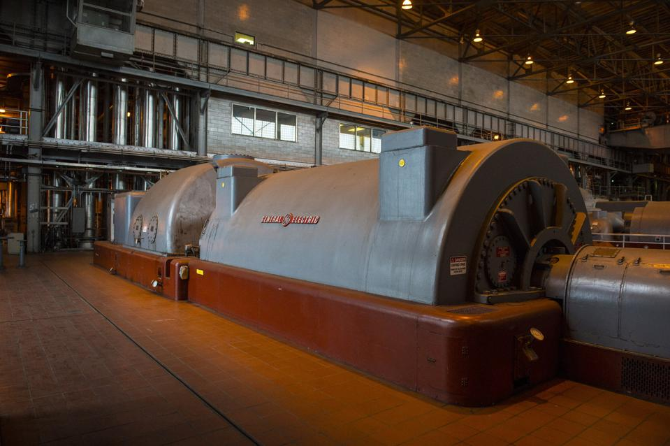 SALEM, MA - OCTOBER 4: Shown is a steam turbine generator in th