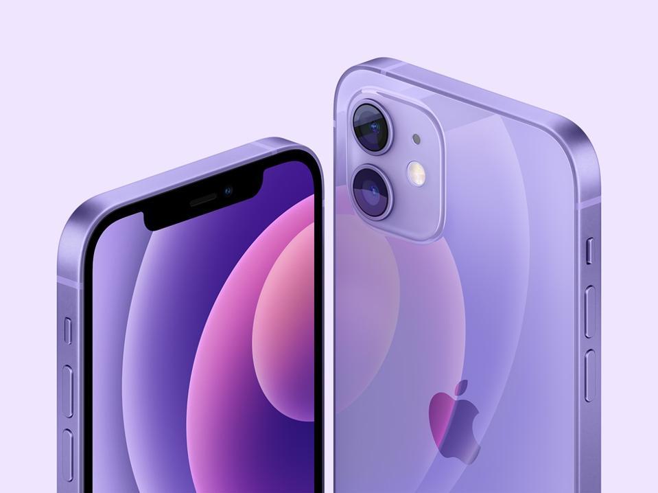 The new purple Apple iPhone 12 and iPhone 12 mini in purple.