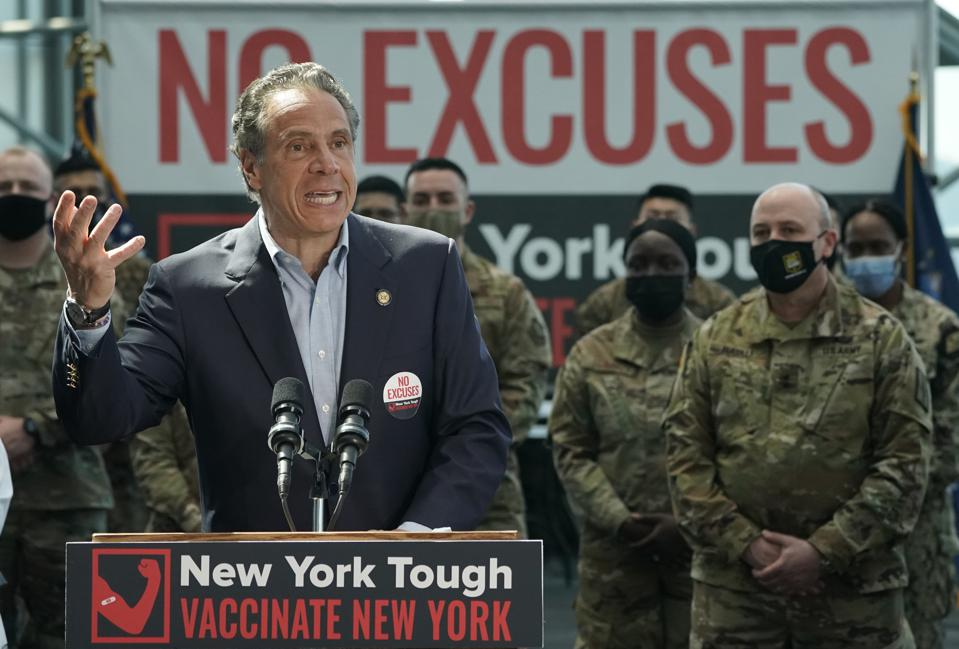 New York Governor Cuomo Holds Covid Briefing From Manhattan's Javits Center