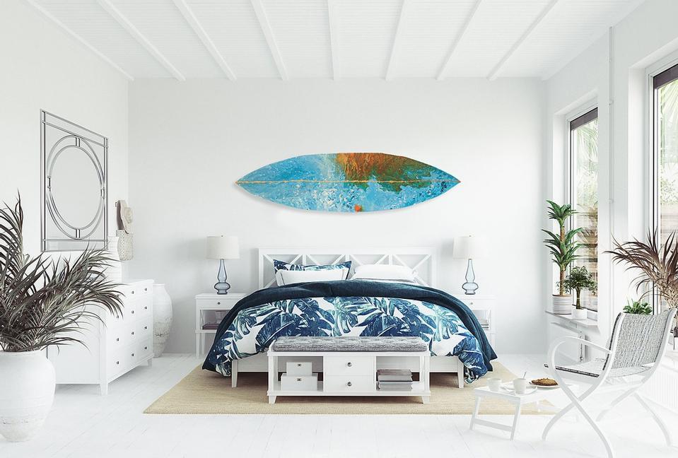 Bedroom with surfboard