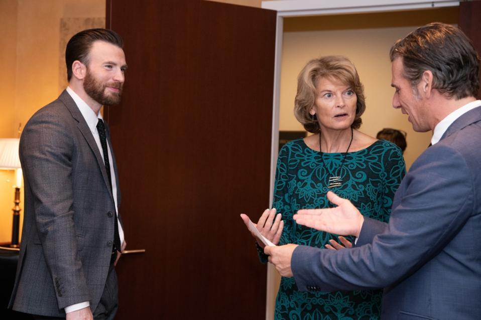 Mark Kassen and Chris Evans make their pitch to Senator Lisa Murkowski.