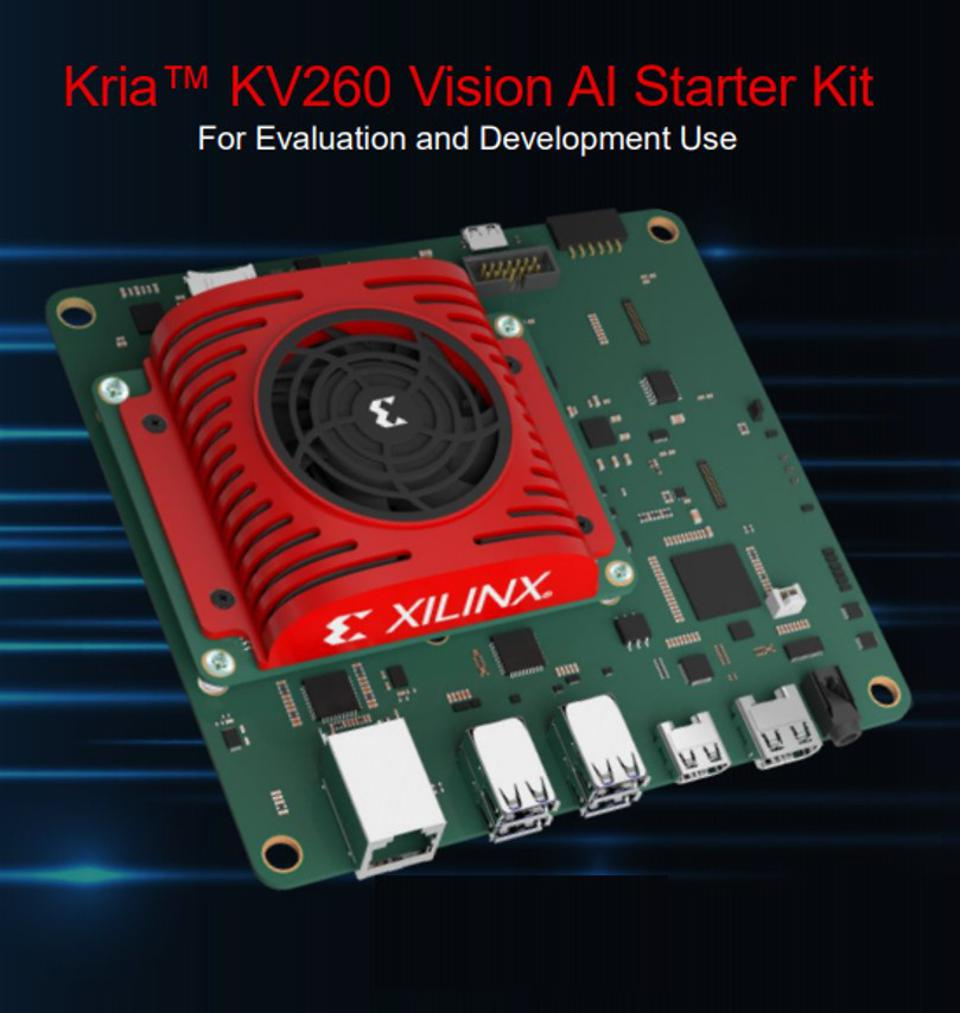 Image of the Kria KV260 development board with a cooling fan