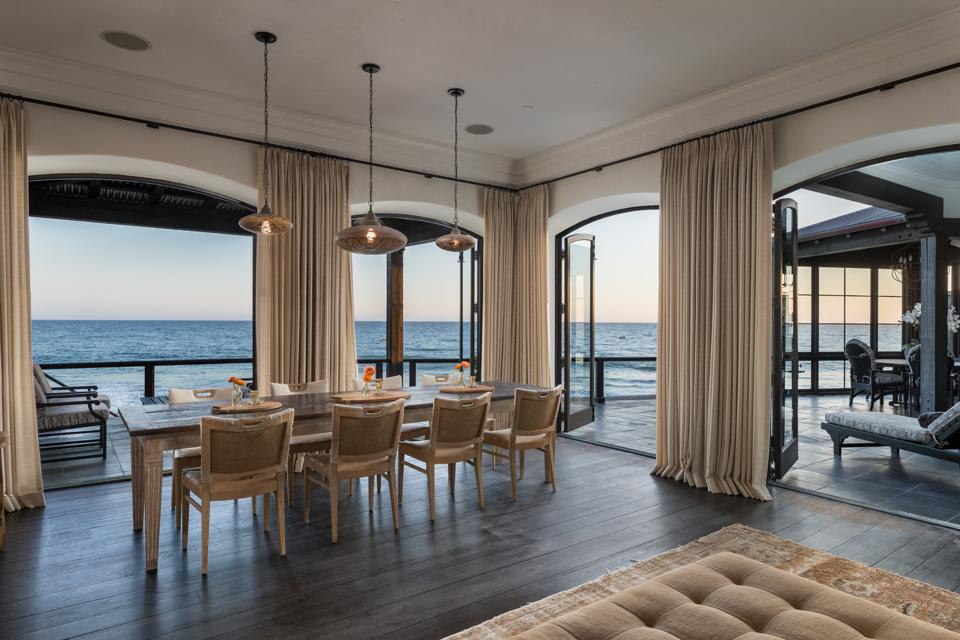 dining room inside malibu oceanfront luxury home la costa beach ted sarandos