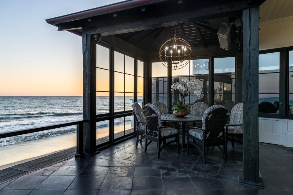 malibu beach house teahouse covered patio overlooking la costa beach