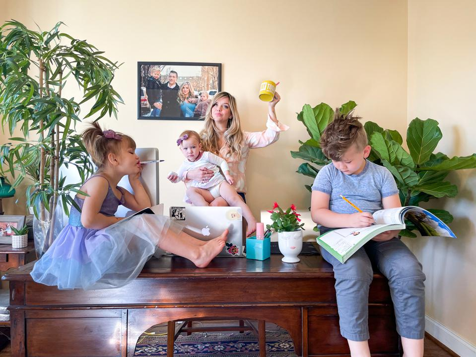 Megan Harper and her three kids, working from home