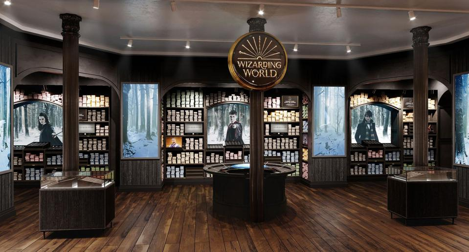 The wand shop at Harry Potter New York