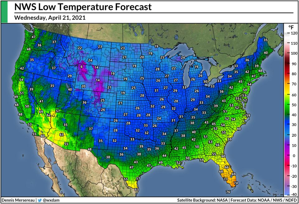 The National Weather Service's forecast low temperatures for the U.S. on April 21, 2021.