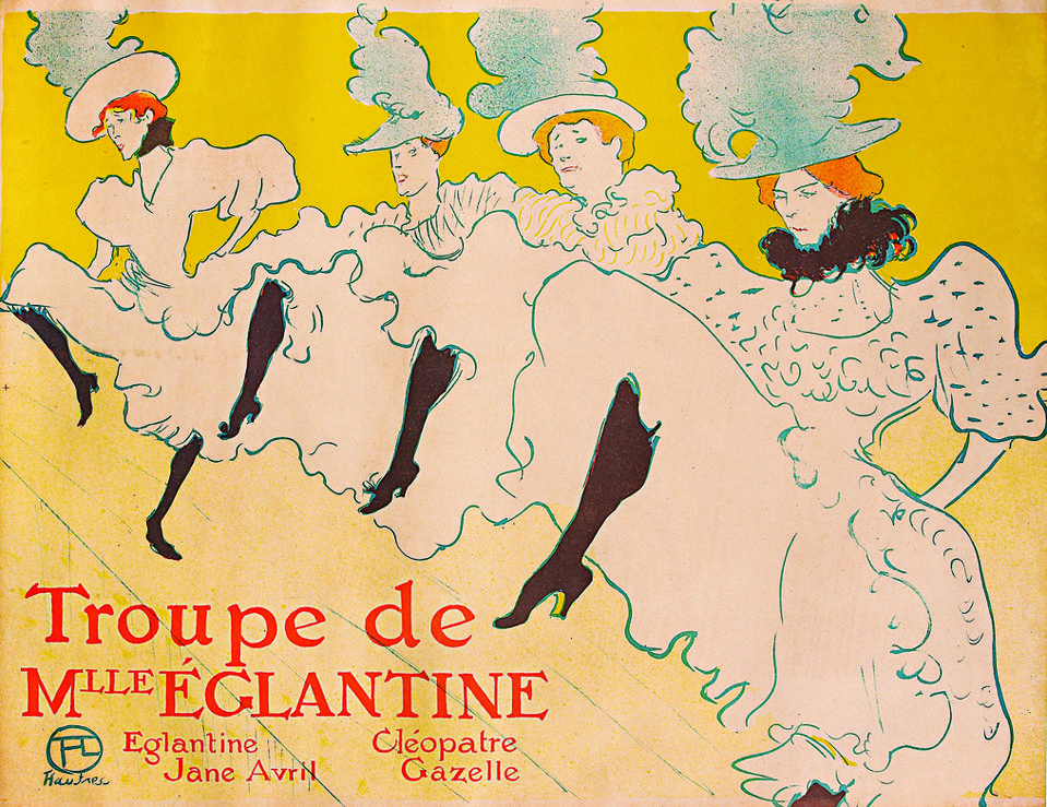Henri de Toulouse-Lautrec, ″La Troupe de Mademoiselle Eglantine,″ Color Lithograph, 1896, 24x32 inches.
