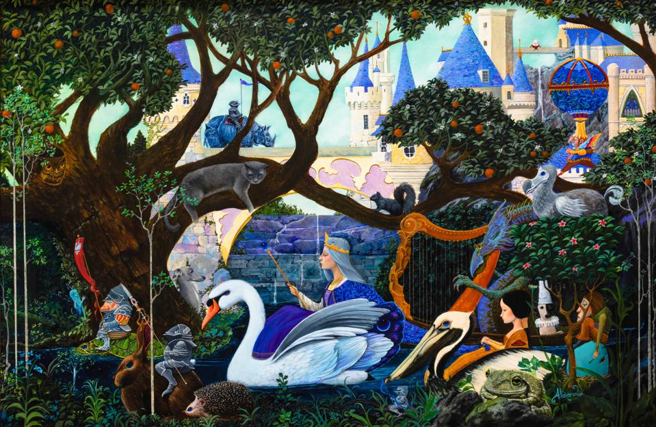 R.L. Alexander, 'Procession of the Swan Queen,' Oil on panel, 2021 Mayfaire by-the-Lake Featured Image.