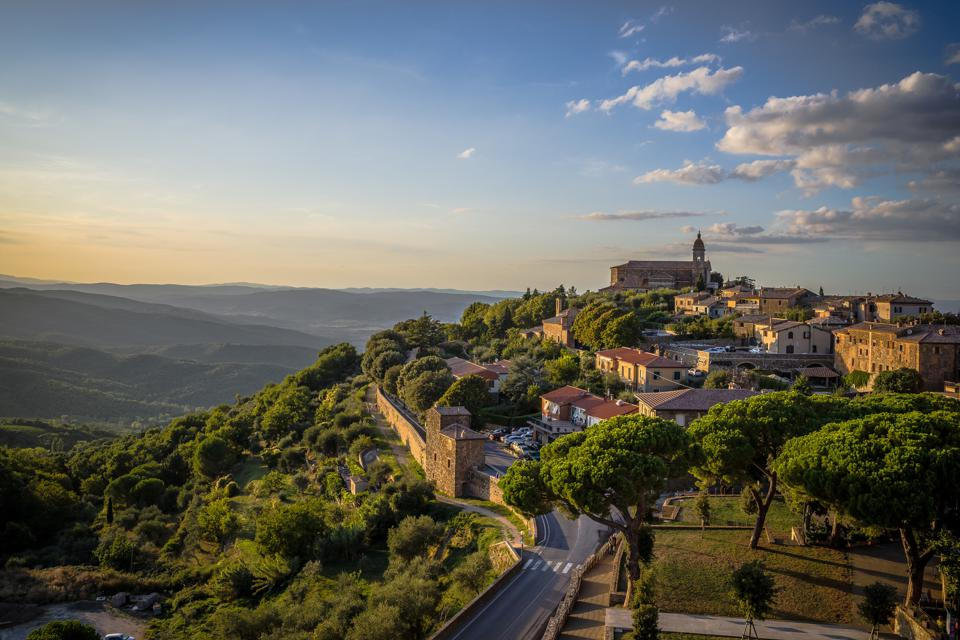 The medieval city of Montalcino, just south of Siena in Italy.