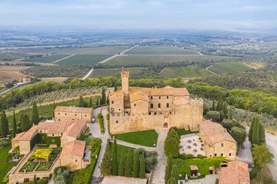 Aerial view of the Banfi estate in Montalcino, Italy