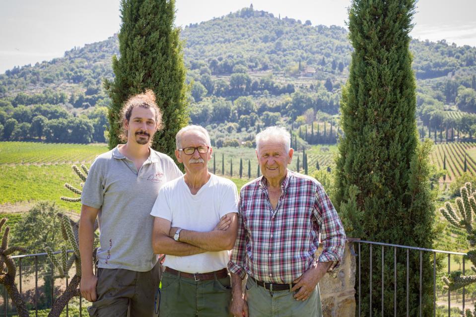 Amedeo, Patrizio, and Benito Cencioni run the family winery of Capanna.
