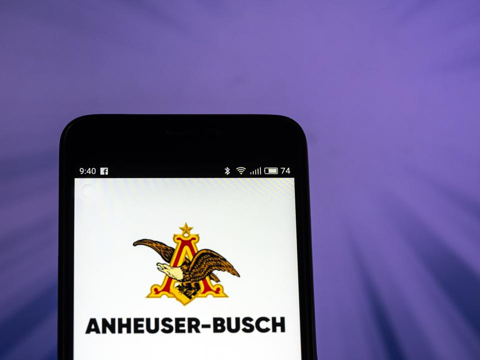 Anheuser-Busch logo seen displayed on smart phone. Anheuser-
