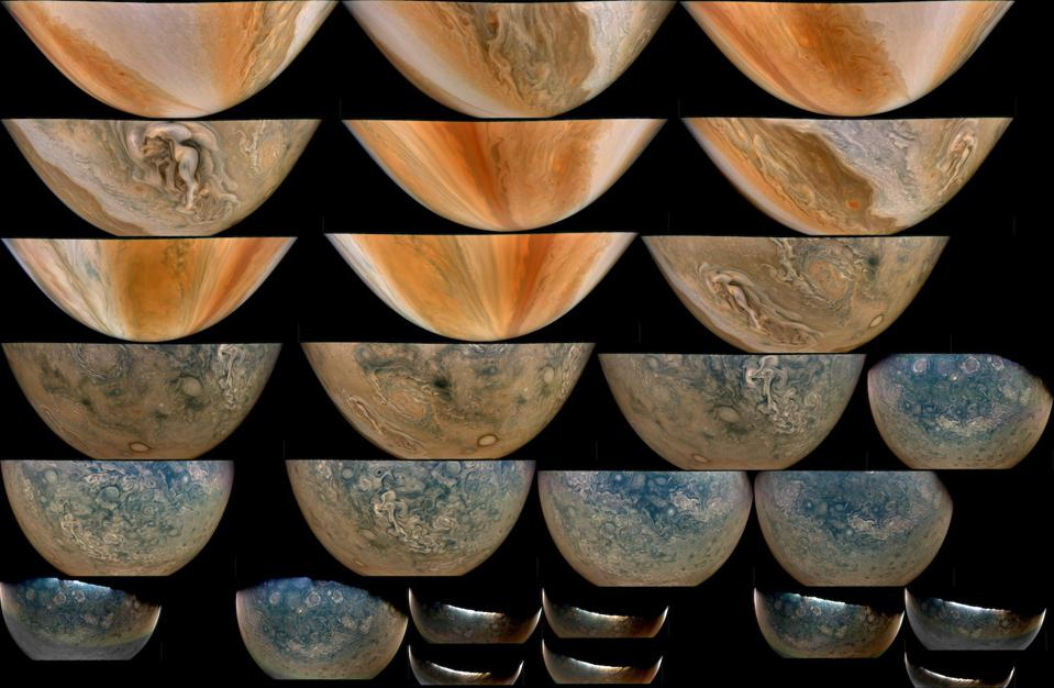 An image collage from Juno's flyby of Jupiter this week.