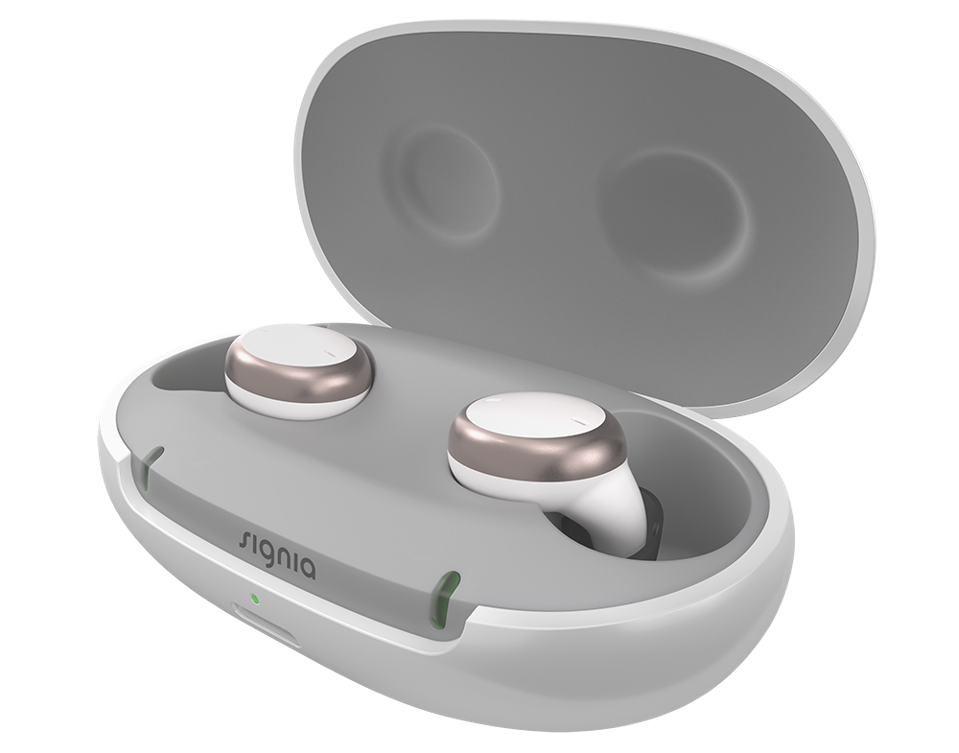 Signia Active Pro in its charging case with the lid open